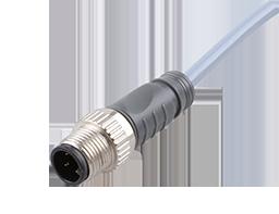 宜科直线形单端预注I/O连接器-M12针端(M)